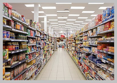 grocery store aisle processed foods