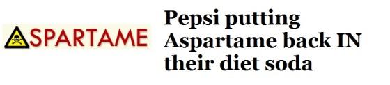 CFL Graphic-Pepsi putting Aspartame back in their diet soda