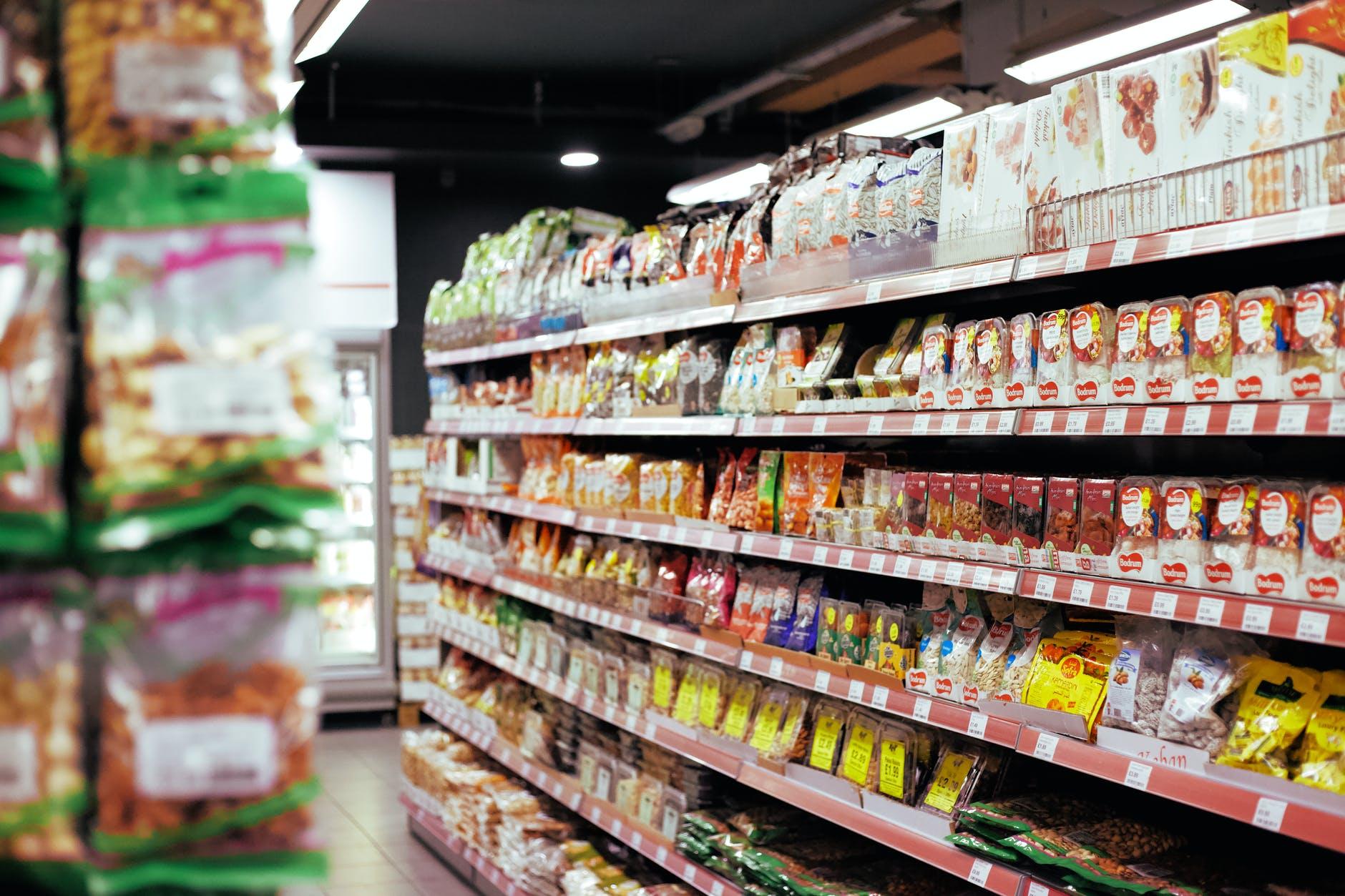 items organized on shelves